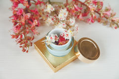 There White and Pink  Branches of Chestnut Tree,Goden Present Box with Bottle Cream are on White Table Royalty Free Stock Photo