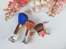 There White and Pink  Branches of Chestnut Tree,Two Make Up Brown and One Blue Brushes are on White Table Royalty Free Stock Photography