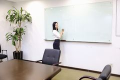 Asia Chinese office lady woman girl hand write success at whiteboard work smile wear business occupation suit workplace. There is a young pretty beautiful lady stock photos