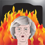 Theresa May bajo fuego Imágenes de archivo libres de regalías