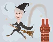 Theresa may caricature. Theresa may British prime minister caricature as a witch on a broomstick Stock Images