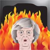 Theresa May onder brand Royalty-vrije Stock Afbeeldingen