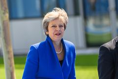 Theresa May, Prime Minister of UK stock photo