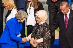 Theresa May, Prime Minister of UK , Emine Erdogan, Wife of President of Turkey and Recep Tayyip Erdogan, President of Turkey stock image
