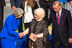 Theresa May, Prime Minister of UK , Emine Erdogan, Wife of President of Turkey and Recep Tayyip Erdogan, President of Turkey royalty free stock images