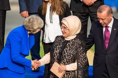 Theresa May, Prime Minister of UK , Emine Erdogan, Wife of President of Turkey and Recep Tayyip Erdogan, President of Turkey royalty free stock photography