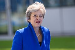Theresa May, Prime Minister of United Kingdom. 11.07.2018. BRUSSELS, BELGIUM. Theresa May, Prime Minister of United Kingdom. Heads of Government arriving at NATO royalty free stock images