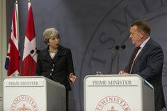 Theresa May Visits Danish Prime minister i Copepenhagen arkivbild