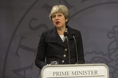 Theresa May Visits Danish Prime minister i Copepenhagen royaltyfri bild