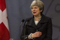Theresa May Visits Danish Prime minister i Copepenhagen arkivbilder
