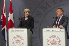 Theresa May Visits Danish Prime minister i Copepenhagen royaltyfri fotografi