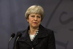 Theresa May Visits Danish Prime minister i Copepenhagen arkivfoto