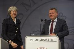Theresa May Visits Danish Prime minister i Copepenhagen fotografering för bildbyråer