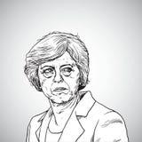 Theresa May Wektorowy Ilustracyjny portret Pierwszorzędny minister Zjednoczone Królestwo Kwiecień 21, 2018 royalty ilustracja