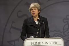 Theresa May wizyta Duński Pierwszorzędny minister w Copepenhagen obraz royalty free