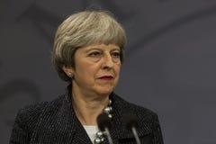 Theresa May wizyta Duński Pierwszorzędny minister w Copepenhagen obrazy royalty free