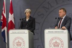 Theresa May wizyta Duński Pierwszorzędny minister w Copepenhagen fotografia royalty free