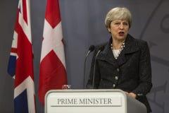 Theresa May wizyta Duński Pierwszorzędny minister w Copepenhagen fotografia stock