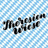 Theresienwiese hand drawn lettering.  lettering illustration isolated on white. Template for Traditional Germa. N Oktoberfest bier festival Royalty Free Stock Photo