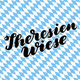 Theresienwiese hand drawn lettering. Vector lettering illustration isolated on white. Template for Traditional German. Oktoberfest bier festival Royalty Free Stock Photo