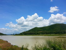 Theriver. Mountain clouds bluesky stock photography