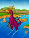 Therizinosaurus op de rivierachtergrond Stock Afbeelding