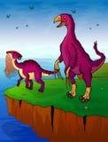 Therizinosaurus y parasaurolophus en el fondo del mar Fotos de archivo