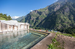 Thermal bath at Khir Ganga - India. KHIR GANGA, HIMACHAL PRADESH, INDIA, 20 AUG 2014: Thermal Bath at Khir Ganga up in the Parvaty river vally Stock Photos