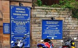 Thermal Baths signs, Matlock Bath. Royalty Free Stock Image