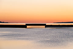 Thermal Bridge. Cape Breton Bridge at Sunset with Hot and Cold Colors Stock Image