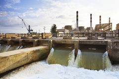 Thermal electric Power Plant beside river side location use for Stock Photo