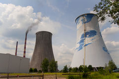 Thermal-electric power station - cooling tower Stock Photos