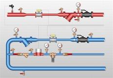 Thermal energy metering station. Pipelines with heat meter, water flowmeters, manometers, valves, control valve, filters, resistance temperature detectors Royalty Free Stock Photo