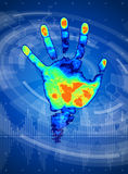 Thermal hand print Stock Image
