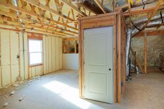 Thermal and hidro insulation wall insulation construction new residential home. Royalty Free Stock Photography