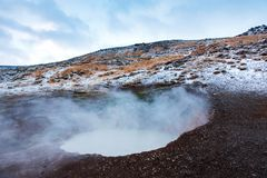 Thermal hot springs near Reykjadalur in Iceland royalty free stock photo