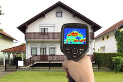 Thermal Image of the House. Detecting Heat Loss at the House With Infrared Thermal Camera Royalty Free Stock Photography