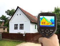 Thermal Image of the Old House. Heat Loss Detection of the House With Infrared Thermal Camera Stock Image
