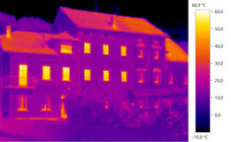Thermal image photo, building color scale. Thermal image photo, building, windows, color scale Stock Image