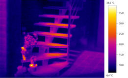 Thermal image photo, building color scale. Thermal image photo, building, windows, color scale Royalty Free Stock Photography
