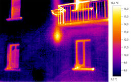 Thermal image photo, building color scale. Thermal image photo, building, windows, color scale Royalty Free Stock Photos