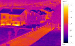Thermal image photo, building color scale. Thermal image photo, building, windows, color scale Stock Images
