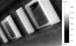 Thermal image photo, building gray scale. Thermal image photo, building, windows, color scale Stock Photography