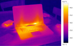Thermal image photo, laptop color scale. Thermal image photo, computer laptop, color scale Stock Images