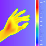 Thermal imager Human hand. The image of a silhouette arm using Infrared Thermograph. Stock Photos