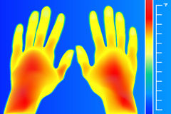 Thermal imager Human hands and finger. The image of a arms using Thermographic camera. Scale is degrees Fahrenheit. Royalty Free Stock Images