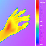 Thermal imager scan Human hand. The image of a female arm using Thermographic camera. Scale is degrees Fahrenheit. Stock Photos