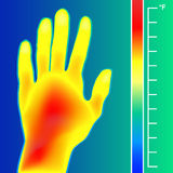 Thermal imager scan Human hand vector illustration. Scale is degrees Fahrenheit. Royalty Free Stock Photography
