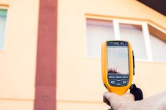 Thermal inspection of the House. Heat Loss Detection of the House With Infrared Thermal Camera Stock Photo