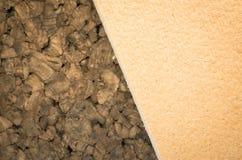 Thermal insulating compressed hemp fiber and compressed cork pan Stock Photos